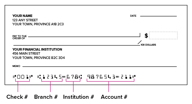 An example of a bank cheque